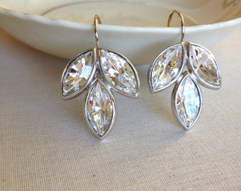 Silver OR GOLD Swarovski crystal rhinestone earrings, rhinestone leaf earrings, bridesmaid gift, bridal, wedding, jewelry, Swarovski
