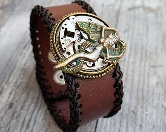 Steampunk  Fallen Angel Wristband Cuff -Steampunk Bracelet-Steampunk cuff-steampunk Girlfriend Ladies gift