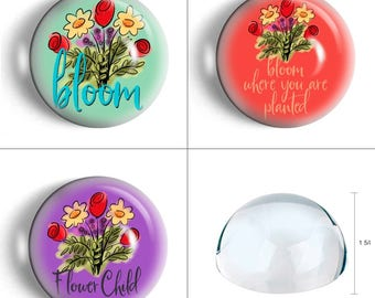 Floral paperweight flower child paperweight bloom where you are planted desk accessory birthday gift for coworker.