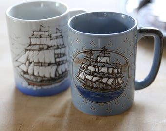 Vintage Mugs, Ships, Set of 2, Blue and White, Coffee Mug, Nautical, Ocean, Anchor, Stoneware, Boat, His and Hers, Tea for Two, Lighthouse