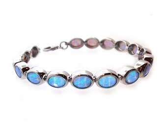 925 Silver Opal Bracelet with Vibrant Cultured Blue Opals