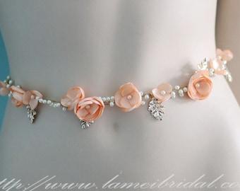 Hand Cut Slik Satin Flower Bridal Wedding Sash Belt . Champagne Wedding Sash - Flowergirl Sash - Bridesmaid Sash - Bridesmaid/ Bridal Belt