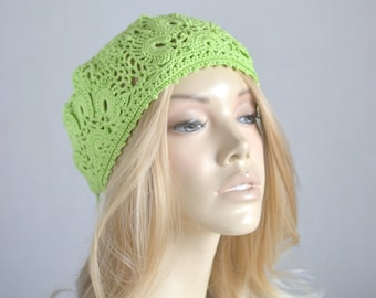 Crochet hat Womens hats Crocheted hats Crochet beret Ladies hats Crochet hat women Summer hats Summer beanie Crochet lace hat French beret