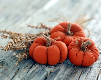 Set of three 3 fabric pumpkins halloween decoration thanksgiving decor pumpkins gift  pumpkin decor thanksgiving gift orange pumpkins