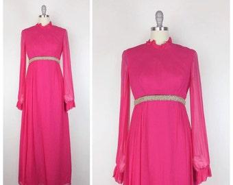 70s Pink Chiffon Maxi Dress / 1970s Vintage Long Sleeve Floor Length Gown / Medium / Size 6