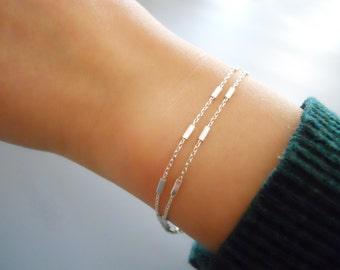 Double Strand Silver Bracelet, Sterling Silver Chain Bracelet, Stranded Silver Bracelet, Thin Silver Bracelet, Layering Bracelet, #549