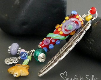 Colorful lampwork bead pendant --  Feather -- made by silke -- artisan glass -- SRA -- OOAK