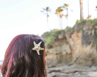 Starfish Hair Clip, Mermaid Hairpin, Beach Wedding Hair, White Knobby Starfish Hairpin, Seashell Hair Clip, Shell Hairpin, Starfish Hairpin