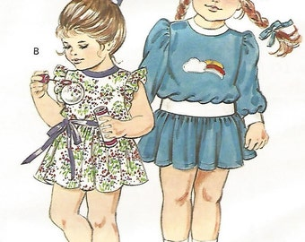 UNCUT 1438 Kwik Sew Sewing Pattern Toddlers Dress Girls Size T1 T2 T3 T4 Vintage 1980s Childs