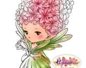 Digital Stamp - Hyacinth Sprite - digistamp - Whimsical Flower Fairy - Fantasy Line Art for Cards & Crafts by Mitzi Sato-Wiuff