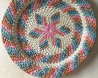 Large Flat Basket Hand Woven Mexican Multi Colored Tray Bohemian Boho Wall Decor Centerpiece