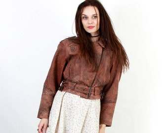 80s Brown Leather Jacket / Brown Motorcycle Jacket / Short Jacket / Leather Belted Jacket / Grunge Jacket / Small Jacket