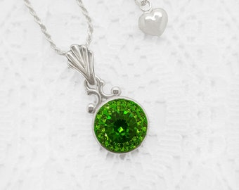 Kelly Green Necklace, Fern Green Swarovski Crystal Necklace, Green Tourmaline Swarovski Crystal Bridal, Flower Girl Pendant Necklace