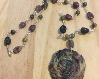Gemstone Rose Rhyolite Tourmaline Necklace