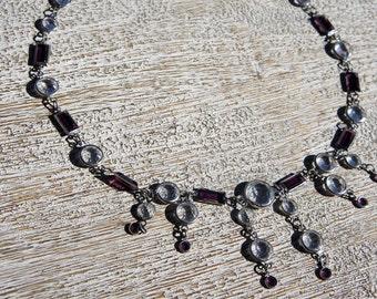 Amethyst & crystal chain necklace - vintage- chandelier necklace -elegant