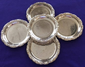 Vintage 5Pcs Silverplated Over Steel COASTERS MADE In ITALY