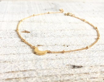 Gold Filled Moon Bracelet, Rose Gold Filled Moon Bracelet, Sterling Silver Crescent Moon Bracelet, Everyday Bracelet, Crescent Moon Jewelry