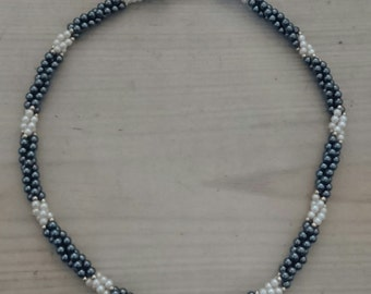 Vintage hematite and pearl bead necklace