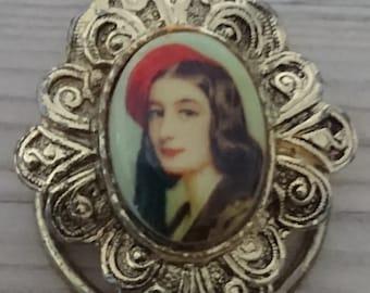 Vintage portrait scarf clip