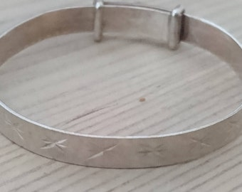 Small vintage sterling silver childs slide bangle