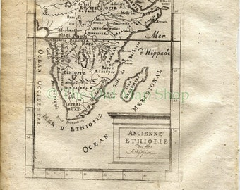 """1719 Manesson Mallet """"Ancienne Ethiopie"""" Ancient Ethiopia, South East Africa, Antique Map, Print"""