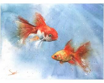 GOLDFISH WATERCOLOR PRINT - goldfish art print, goldfish print, goldfish painting, fish print, fish wall art, fish decor, fish gift