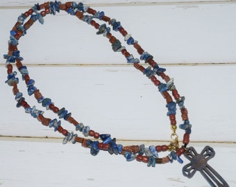 Long Bohemian Cross Necklace Jewelry For Women With Brown and Blue Beads