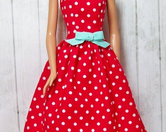 Barbie Clothes, Handmade Doll Dress, Red and White, Polka Dot Dress, Barbie Dress, Fashion Doll Clothes, Handmade Barbie Dress, Doll Clothes