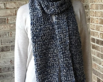 Women's Hand Crocheted Fringed Scarf In Navy Blue Color Made from Lion Brand Homespun Yarn Ready to Ship