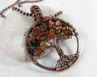 Red Jasper & Ethiopian Opal Tree of Life Pendant, October Birthstone,Tranquility, Peace Stones, Base Chakra, Wire Wrapped, oxidized copper