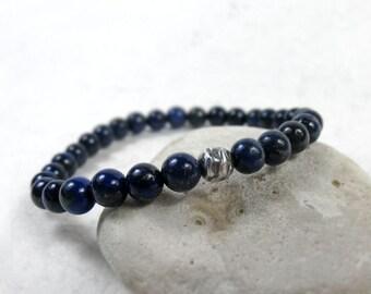Lapis Lazuli Bracelet, September December Birthstone, Protection & Inner Power, Sterling Silver, meditation, Third Eye chakra, Throat Chakra