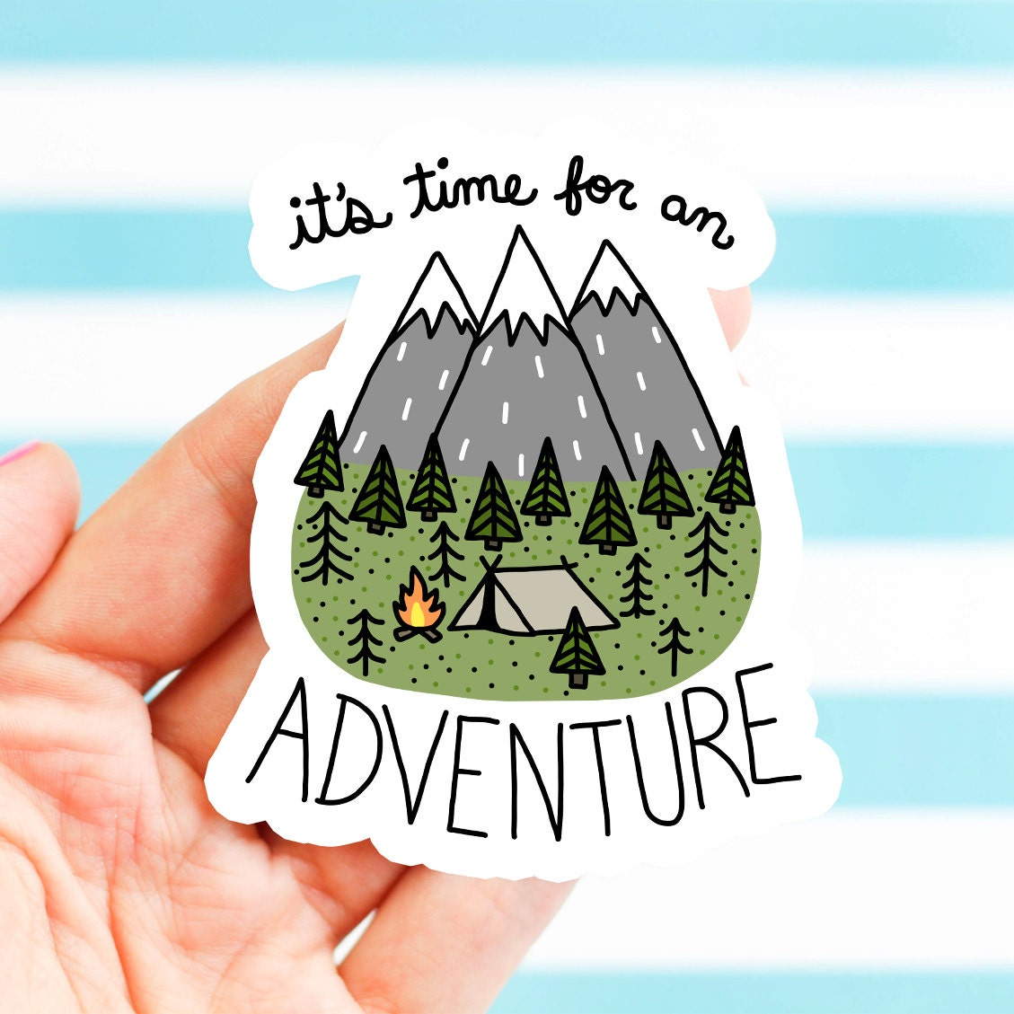 Outdoorsy Gift Adventure Stickers Holiday Gift Vinyl - Custom vinyl stickers easy peel off