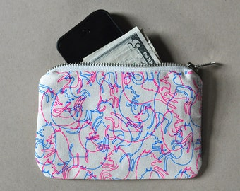 Zipper Pouch Wallet - Screen Printed Jelly Dancing Dogs Handmade Bag Purse Limited Edition