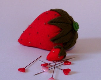 Strawberry pin cushion, pincushion, pin cushions, traditional strawberry pin cushion