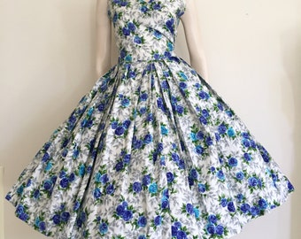 RESERVED  Stunning 50s 60s Violet Blue Floral Cotton Party Dress with Matching Jacket / Full Skirt / Medium