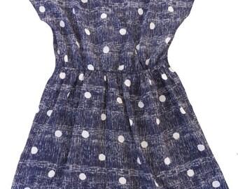 Cute 70's 80's Vintage Blue and White Polka Dot Dress / Retro Print / Medium Large