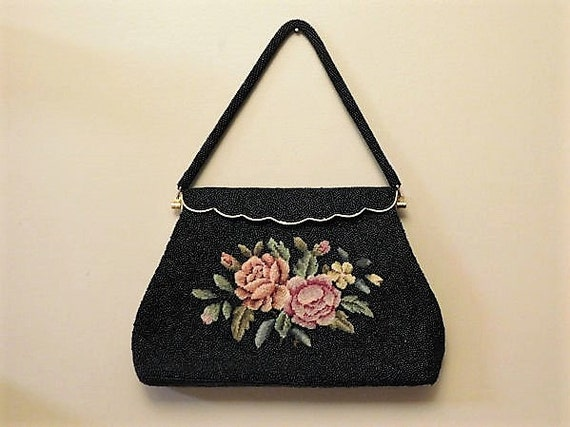 Needlepoint Purse / Beaded Embroidered Handbag / Mid Century Evening Bag  /Floral Flower Embroidery