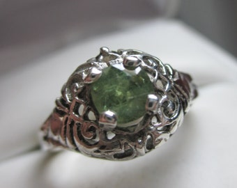 Antique Style .71ct Natural Demantoid Garnet Sterling Silver Filigree Ring