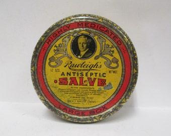 Vintage Rawleigh's Salve Tin, 1930s Large Advertising Round Metal Box, Drugstore Antiseptic Man or Beast, Empty 12 oz. Medicine Freeport IL