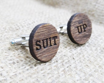 Suit Up Cufflinks - HIMYM Wood Cuff Links - Engraved Wood Cufflinks - Best Man Groomsmen Proposal Gift for Guys Persoanlized