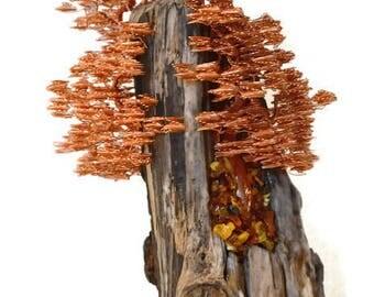 Wire Sculpture / Contemporary Art / Wire Tree Sculpture / Driftwood Sculpture / Wire Tree / Metal Sculpture / Home Decor / Copper Sculpture