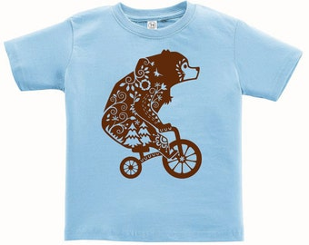 Kids Clothing Kids Shirt Toddler, Whimsical Bear Tshirt, Forest Animal T Shirt, Woodland Critter Tee Youth Childrens Clothes Ringspun Cotton