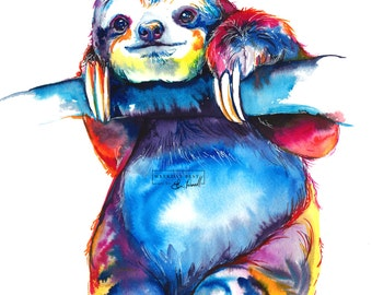 Colorful SLOTH Art - Print of original watercolor painting - bright rainbow decor