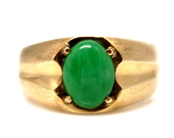 18k Yellow Gold Jade Men Ring Signet Green Asian Fashion Vintage 1950's