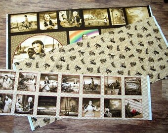 WIZARD Of OZ Quilting Treasures Fabric Lot - Sepia Panels and Toto Yardage Photographic Images Judy Garland Film
