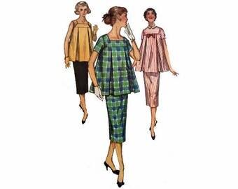 1950s Maternity, Simplicity 1487, Maternity Top & Skirt, Size 16, Bust 34, Adj. Waist Slim Skirt w/ Back Pleat, Top w/ Inverted Pleats