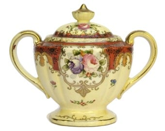 Antique French Rose Hand-Painted Ceramic Sugar Bowl.