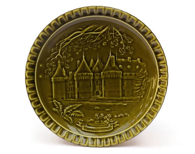Vintage French Chateau Wall Plate. Gien Green Majolica Castle Plate.