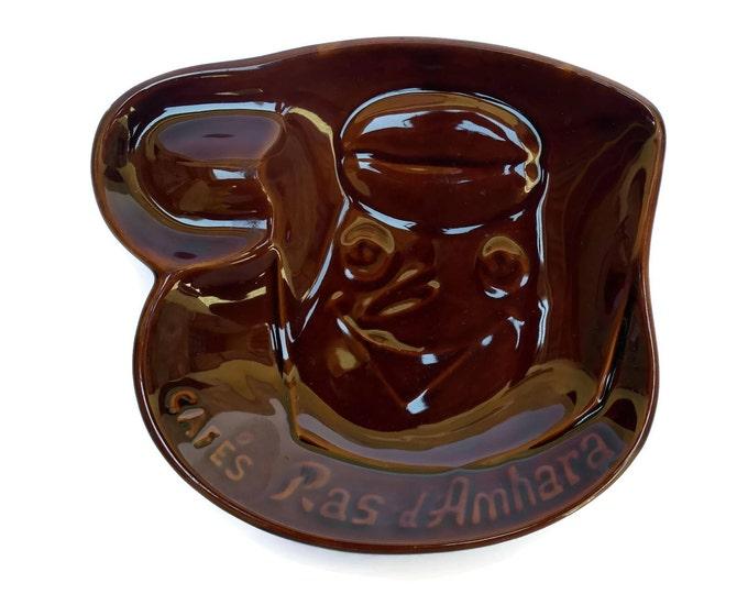French Saint Clement Ceramic Coin Dish Advertising Ras d'Amhara Coffee.