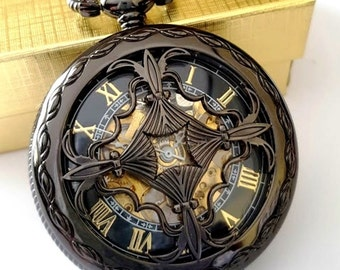Black Pocket Watch Personalised Groomsmen Gift Pocket Watches Chains Engraved Black Celtic Knot Birthday Godfather Graduation Pocketwatch
